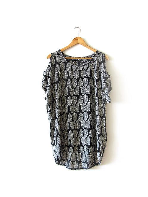 L טוניקה-שמלה שחור לבן