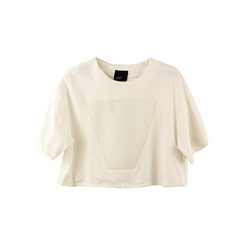 L | julliet חולצת קרופ לבנה עם טיקט
