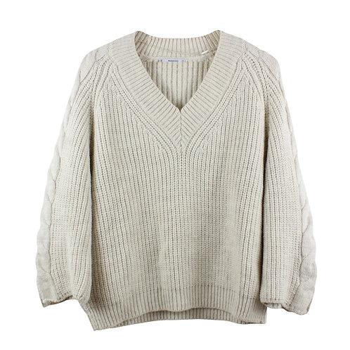 S | MANGO סוודר וי עבה