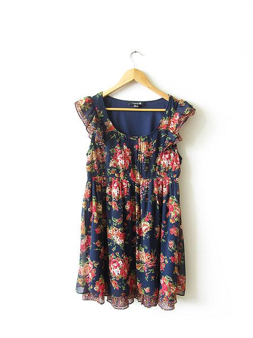 L שמלת שיפון נייבי עם פרחים מידה