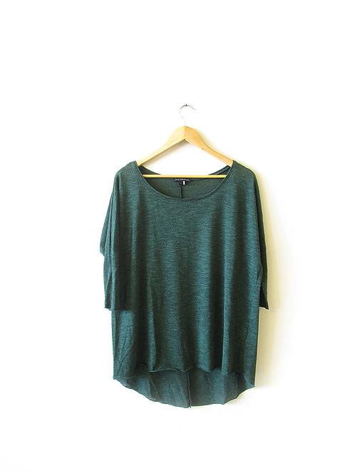 L חולצה סרוגה בצבע ירוק מידה