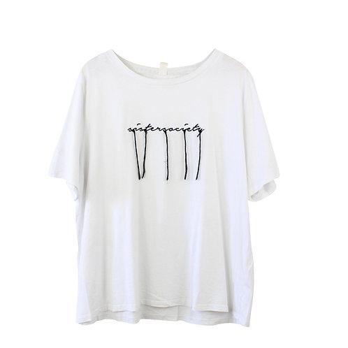 XL | H&M טישרט לבנה עם רקמה