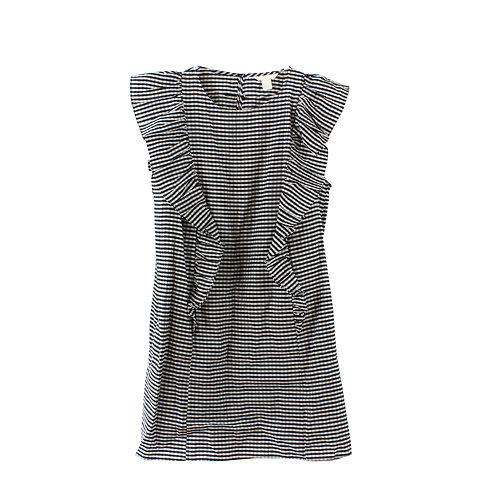 L   שמלת ראפל משובצת