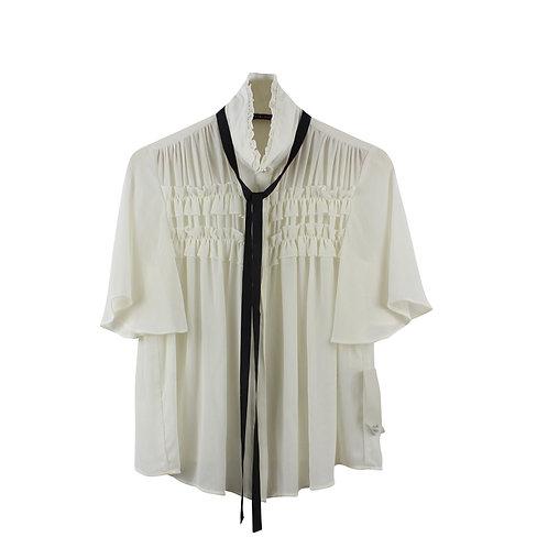 S | ZARA  חולצת שיפון עם טיקט