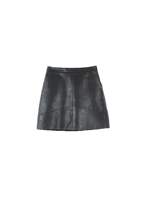 M | ZARA   חצאית דמוי עור שחורה