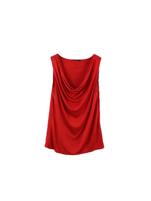 L | Massimo Dutti חולצת רבידה אדומה