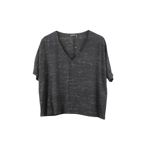 M | Alef Alef חולצת קרופ שחורה