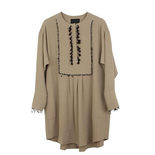 L   SABINA MUSAYEV שמלת חול פרנזים