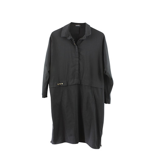 L | Alef Alef שמלה שחורה מכופתרת