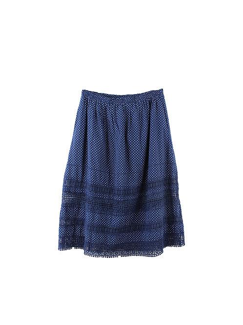 L | LEON & HARPER חצאית בוהו כחולה