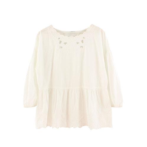 L | MANGO חולצה לבנה רקומה