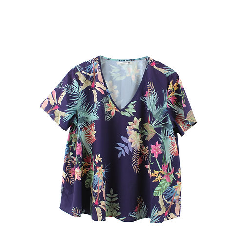 L | חולצת אוברסייז טרופית