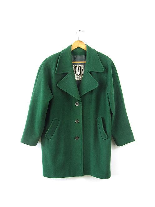 M-XL  מעיל צמר אוברסייז ירוק