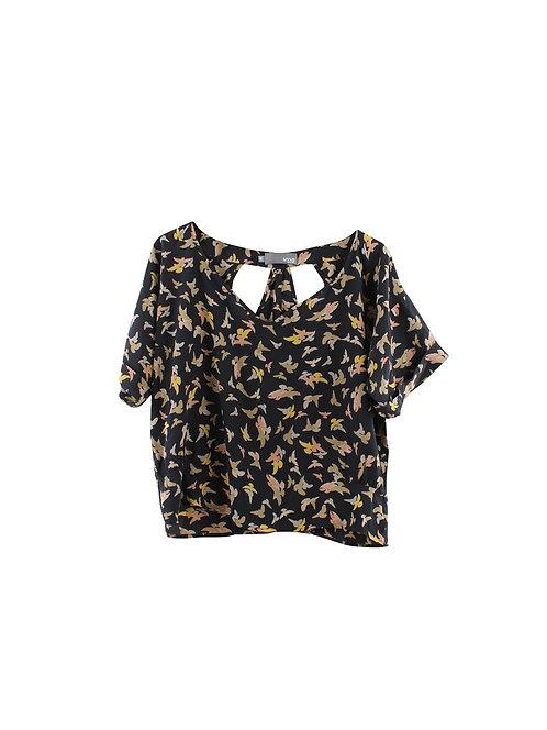 M   MYNE חולצת משי ציפורים