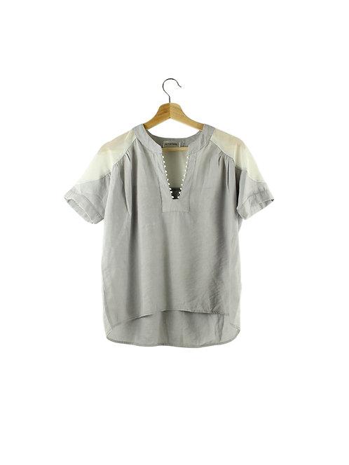 S/M חולצה רחבה שרוול רשת