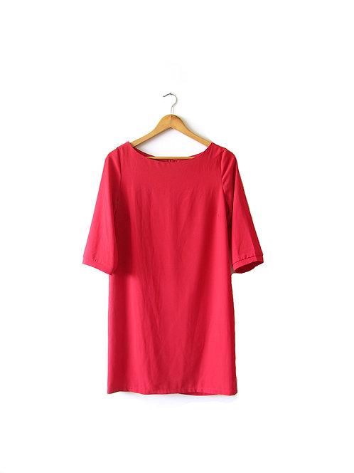 שמלה אדומה עם שרוולים מידה 2