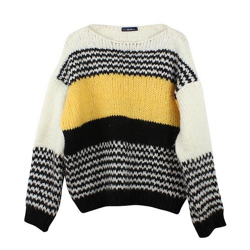 M | DIVLIN סוודר צהוב שחור ושמנת