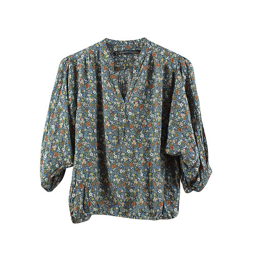 S | ZARA חולצה פרחונית ויסקוזה