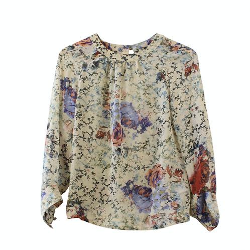 S | TOPSHOP חולצת שיפון פרחונית
