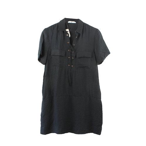 S   MANGO שמלת קשירה שחורה