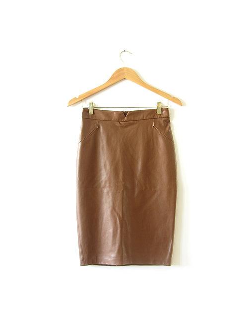 S חצאית דמוי עור קאמל מידה