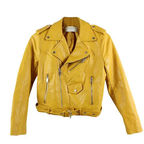 S | ZARA מעיל דמוי עור צהוב