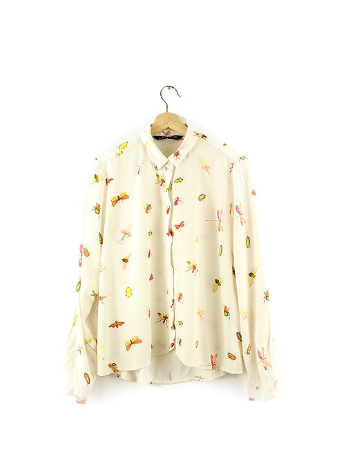 L חולצת שיפון מכופתרת חרקים