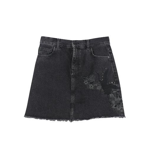 S | MANGO חצאית ג׳ינס שחורה
