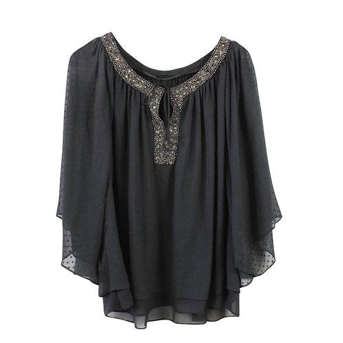 L | ZARA חולצת שיפון עם רקמת חרוזים