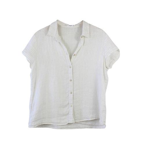 M/L | MANGO חולצת פשתן לבנה