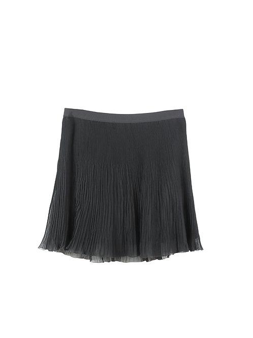 L | BENETTON  חצאית שיפון שחורה