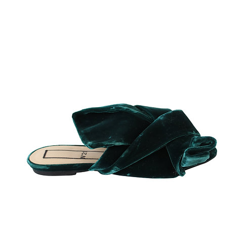 37.5 | No.21 green velvet knotted  bow sandals