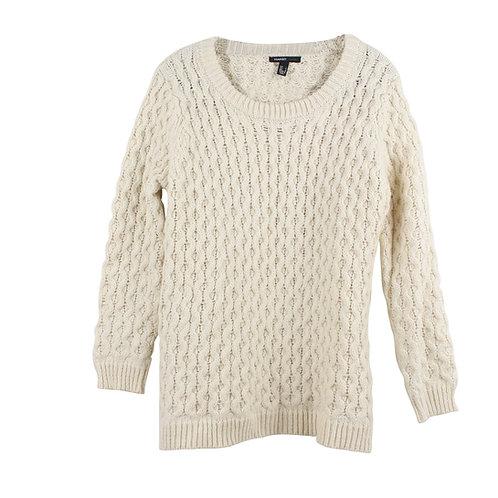 L | MANGO סוודר עבה שמנת