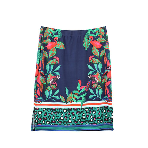 L | OUI חצאית מידי מודפסת