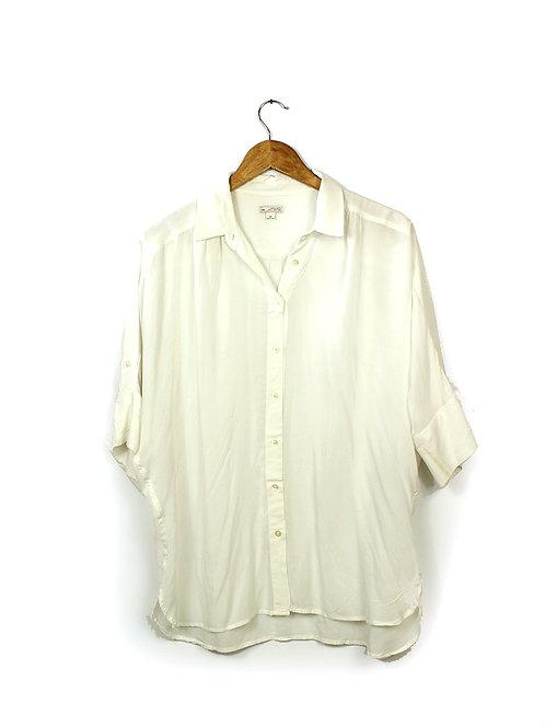 S/M חולצת כפתורים לבנה