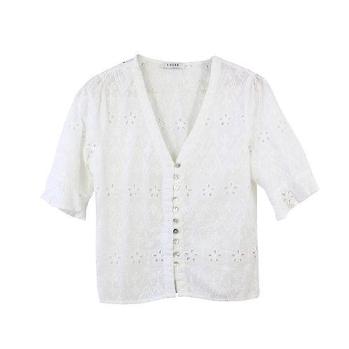 S | PIECES חולצה לבנה מכופתרת