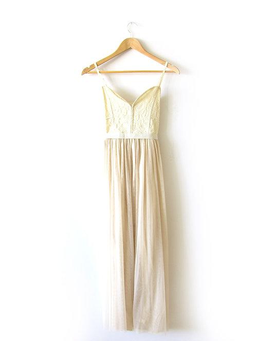 שמלת מקסי תחרה וטול מידה 36
