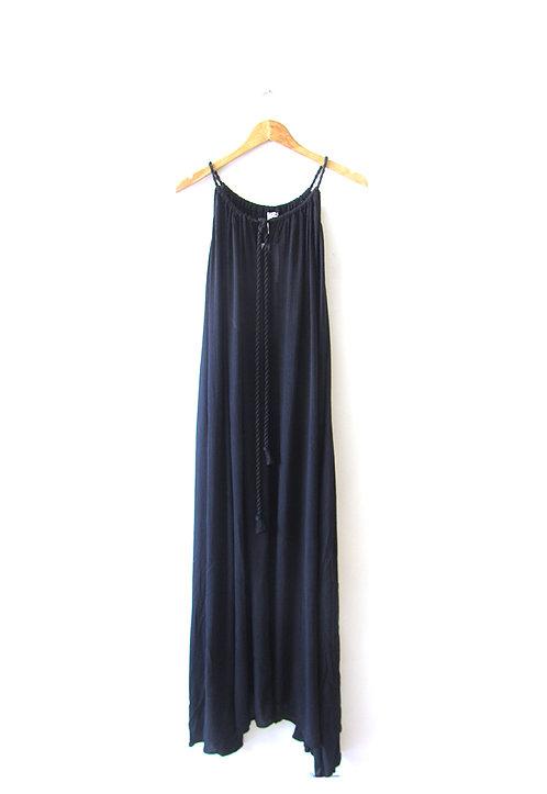 S שמלת מקסי שחורה עם אטיקט
