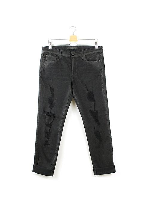 L | Joe's ג'ינס שחור שטוף עם קרעים