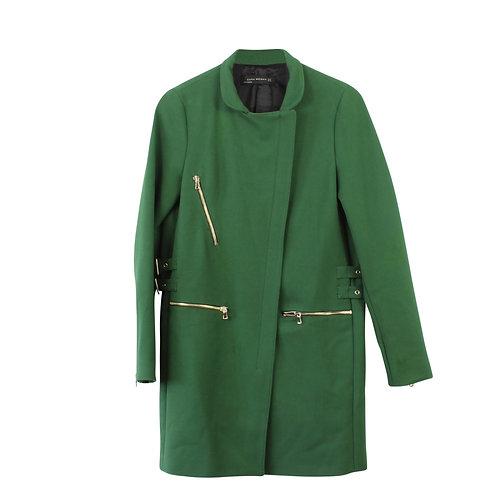 XS | ZARA מעיל ירוק רוכסנים