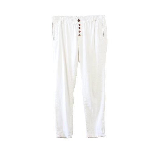 M | SACK'S מכנסי פשתן לבנים