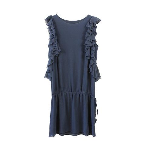 S | FORNARINA שמלת ראפל כחולה