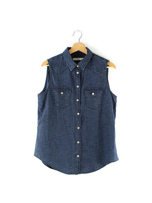 L חולצת דנים כחולה ללא שרוולים