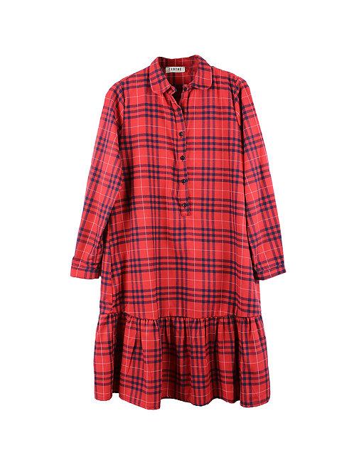 L   CLOTHE שמלת פפלום משבצות