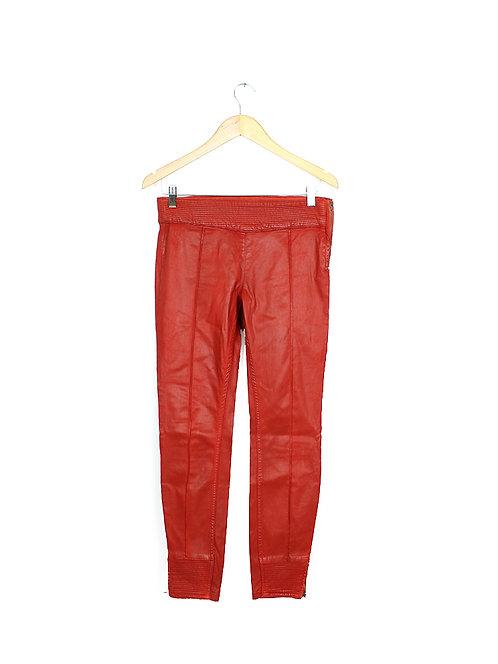 38-מכנסיי כותנה במראה עור אדום