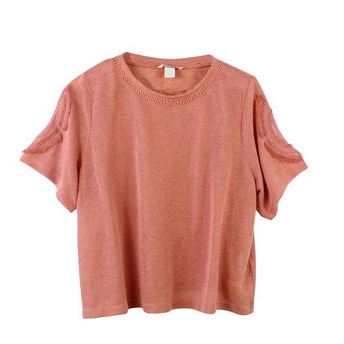 L | H&M חולצה שרוולים רקומים