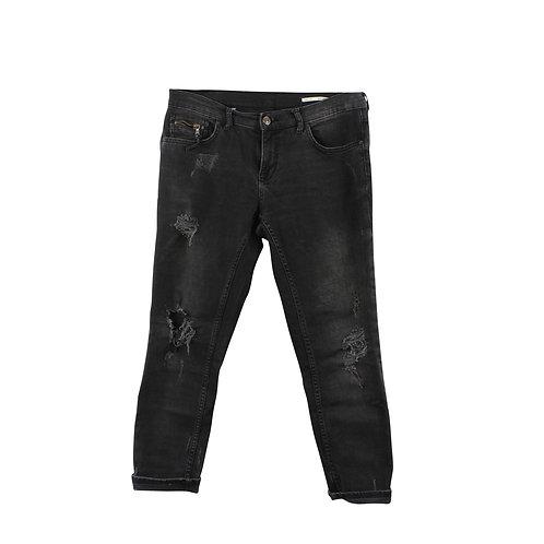 M | ZARA ג'ינס שחור קרעים