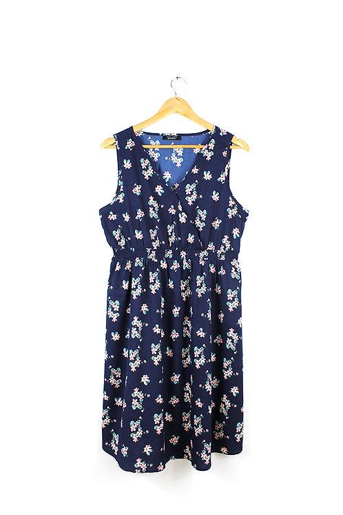 L שמלה כחולה פרחונית הריון
