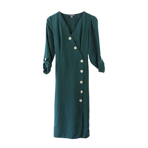 S | שמלת כפתורים ירוקה