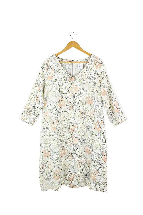 L -שמלה הריון פרחונית שמנת